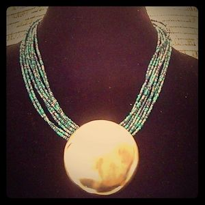 Chico's Teal Blue Beaded Silver Medallion Necklace